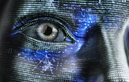 Mujer electrónico o cyborg femenino aislado en el fondo binario Foto de archivo - 55471207