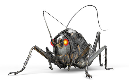 locust: metal robot insect isolated on white with clipping path, 3D illustration.
