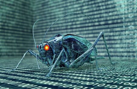 locust: digital safety concept computer bug in electronic environment.