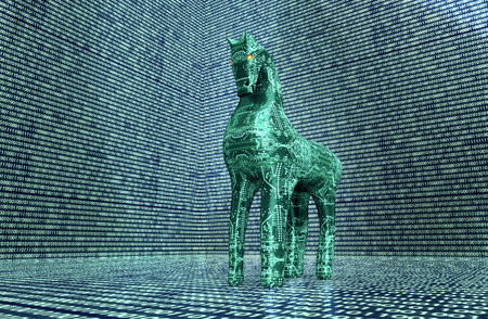 computer safety concept, trojan horse in electronic environment. Banque d'images