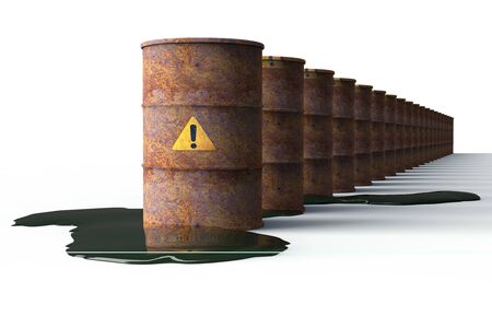 hazardous waste: rusty barrel leaking oil isolated on white, 3d illustration Stock Photo