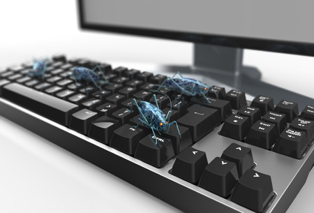 cyberpunk: digital safety concept electronic bug on computer keyboard, 3D illustration Stock Photo