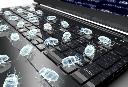 intrusion: digital safety concept electronic bug on computer keyboard, 3D illustration Stock Photo