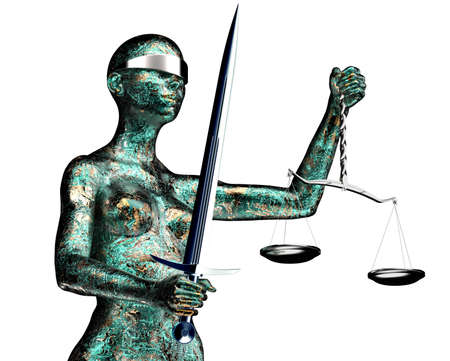 blindfold: legal computer judge concept, lady justice isolated on white, 3D illustration. Stock Photo