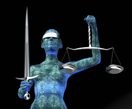 legal computer judge concept, lady justice isolated on black, 3D illustration. Stock Photo