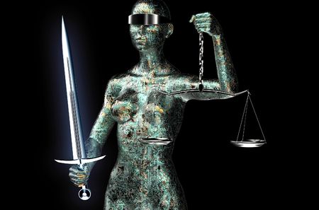 blindfold: legal computer judge concept, lady justice isolated on black, 3D illustration. Stock Photo