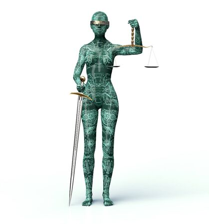 lady justice: legal computer judge concept, lady justice isolated on white, 3D illustration. Stock Photo