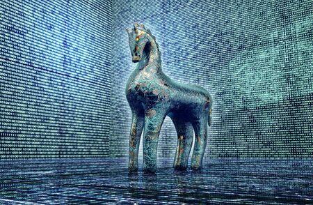 cavallo di troia: concetto di sicurezza del computer, cavallo di troia in ambiente elettronico. Archivio Fotografico