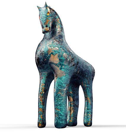 cavallo di troia: concetto di sicurezza del computer, cavallo di Troia in isolato su bianco con un tracciato di ritaglio, illustrazione 3D