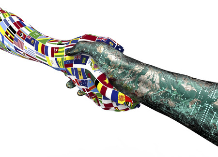 geopolitics: world nations hand shaking robothand isolated on white with clipping path, 3d illustration Stock Photo