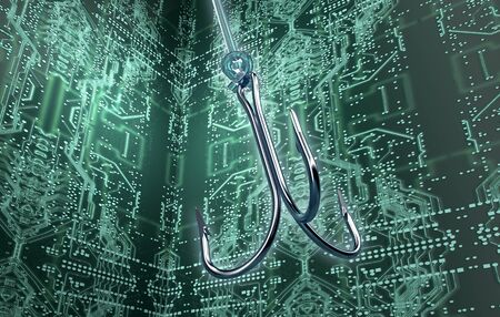 phising digital safety concept fishing hook in digital enviroment, 3d illustration Stockfoto