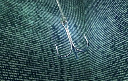 phising digitale veiligheidsconcept vishaak in de digitale omgeving, 3d illustratie