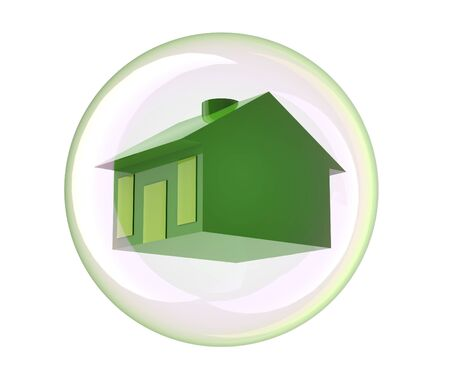 house in bubble isolated on white, 3d illustration