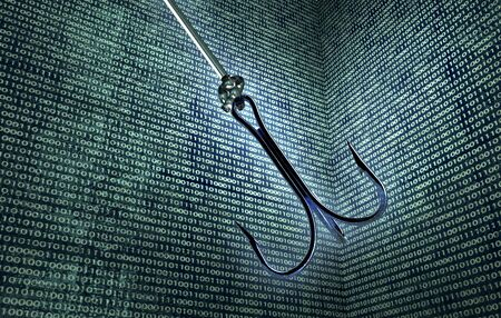 enviroment: phising digital safety concept fishing hook in digital enviroment, 3d illustration Stock Photo