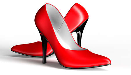 red dress: shoes for women, sexy pumps isolated on white, 3d illustration