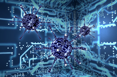 cyber war: digital safety concept computer virus in electronic environment, 3D illustration Stock Photo