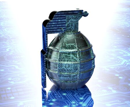 infect: cyber terrorism concept computer bomb in electronic environment, 3d illustration