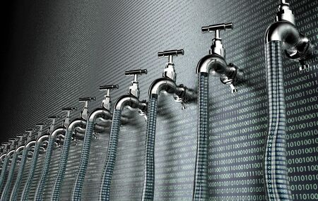 breach: concept of leaky software, data with a tap sticking out.3d illustration Stock Photo