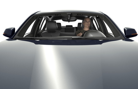 chauffeur: the motorhood with driver of a modern car  ,  3d illustration