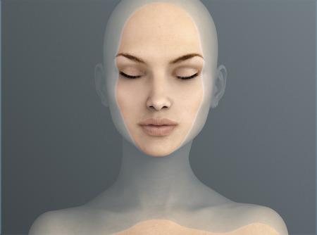 Frau in Wasser schwimmen, 3D-Darstellung Standard-Bild - 58961854