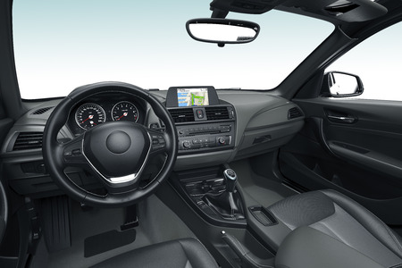 the inside or interior of a modern car ,  3d illustration Stock Photo