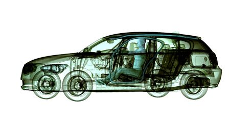 radiograph: xray image of a car with test driver, 3d illustration