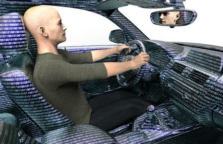 Konzept eines selbstfahrenden modernen Auto, 3D-Darstellung
