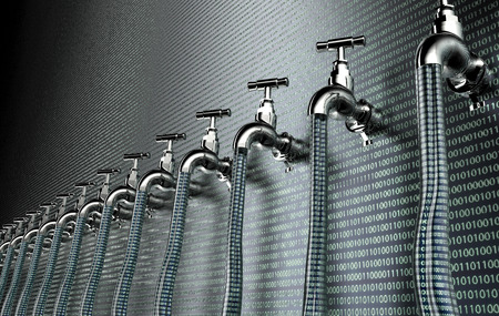 concept of leaky software, data with a tap sticking out.3d illustration Stok Fotoğraf