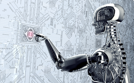 clicking: humanoid robot clicking network computer , 3d illustration Stock Photo