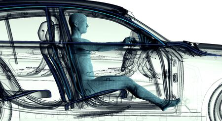 radiogram: xray image of a car with test driver, 3d illustration