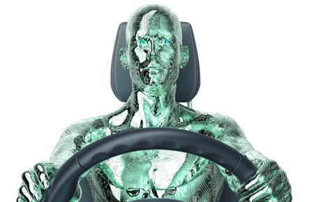 self exam: concept of a self-driving modern car ,  3d illustration