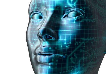 binary background: electronic woman or female cyborg on binary background, 3D illustration Stock Photo