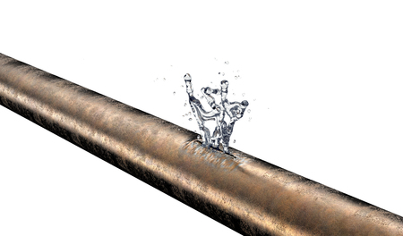 leaking: bursted copper pipe with water leaking out, 3d illustration