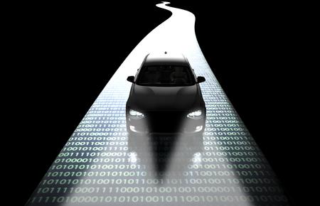 driveing ??auto coche computadora electrónica en la carretera, ilustración 3d Foto de archivo