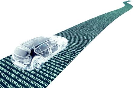 도로에 자기 driveing 전자 컴퓨터 자동차, 3D 그림