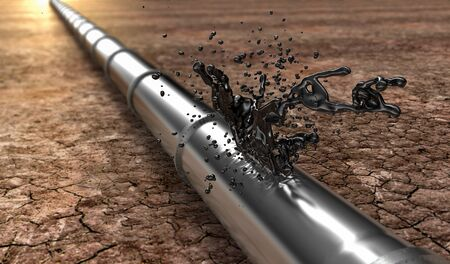 leaking: bursted oil-pipe with oil leaking out, 3d illustration
