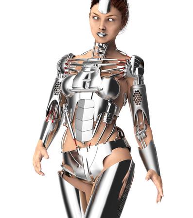 cybernetics: female robot isolated on white, 3d illustration Stock Photo
