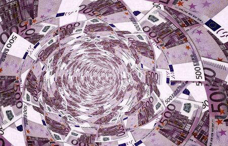 collapsed: a vortex made of 500,- euro banknotes, 3d illustration