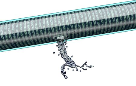 breach: concept of leaky software, data pouring out of pipe.3d illustration