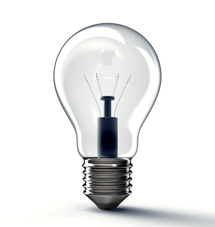 edison: bright glass light bulb isolated on background , 3d illustration Stock Photo