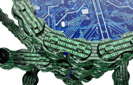 Digitalrechner blockchain auf weiss, 3D-Illustration isoliert Standard-Bild - 63953414