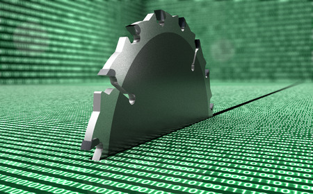 disk break: steel circle saw is destroying data,  3d illustration