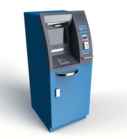 automatic transaction machine: atm cash machine isolated on white background, 3d illustration