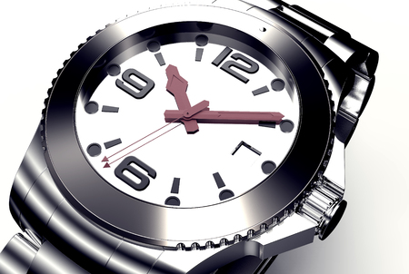 chronograph: beautifull wrist watch isolated on white,  3d illustration