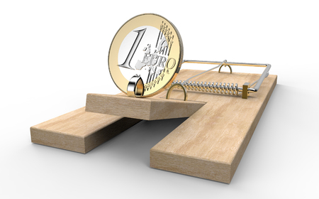 mouse trap with euro coin as bait isolated, 3d illustration