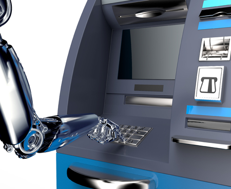 automatic transaction machine: atm cash machine with robot hand isolated on white background, 3d illustration Foto de archivo