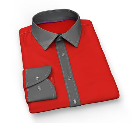 red shirt: red Shirt folded flat, isolated on white with clipping path, 3d illustration