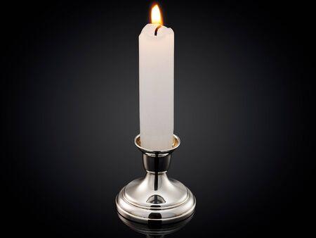 beautiful silver candleholder on black background.