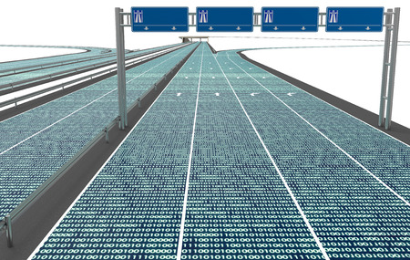 self driving electronic computer road, 3d illustration Фото со стока
