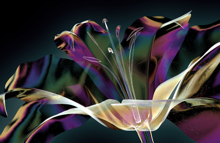 color glass flower isolated on black, the lilly 3d illustration Фото со стока